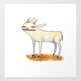 Goat with luscious lips. Art Print