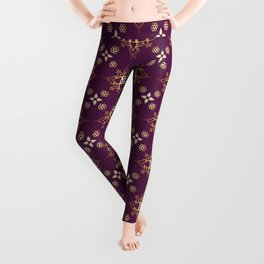 Indian Golden Art Lotus flower Mandala Pattern with Elegant Fuxia background color Leggings