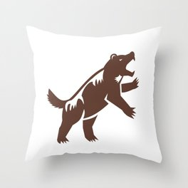Wolf Standing Hind Legs Retro Throw Pillow