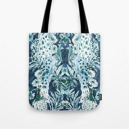 PEACOCK SPLENDOR Indigo Print Tote Bag
