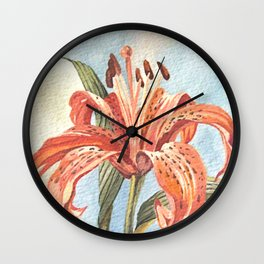 Orange Tiger Lily Watercolor Painting Wall Clock