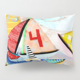 Wooden sail boat Love - Wild ocean waves Pillow Sham