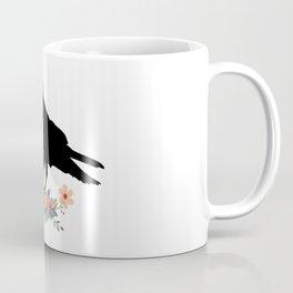 Raven with Vintage Key and Flowers Coffee Mug