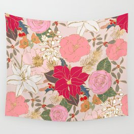 Elegant Golden Strokes Colorful Winter Floral Wall Tapestry