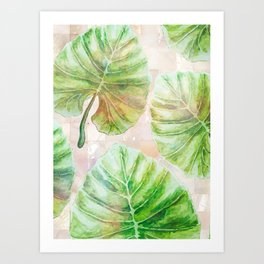 Pearlescent mosaic and plants Art Print