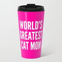 WORLD'S GREATEST CAT MOM (Pink) Travel Mug
