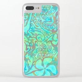 Polynesia Teal Print Clear iPhone Case
