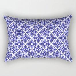 Damask (Navy Blue & White Pattern) Rectangular Pillow
