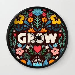 GROW floral Wall Clock