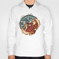 buddhism Hoodies featuring The Tiger and the Dragon by Megan Lara