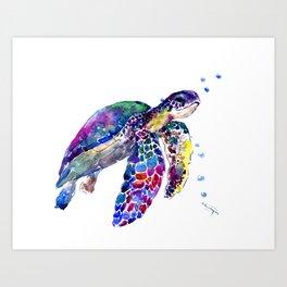 Sea Turtle Rainbow Colors, turtle design illustration artwork animals Art Print