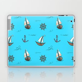 Happy Sailing Pattern with blue background Laptop & iPad Skin