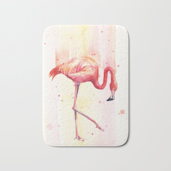 Pink Flamingo Rain | Facing Right Bath Mat