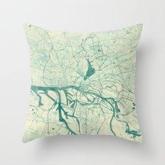 Hamburg Map Blue Vintage Throw Pillow