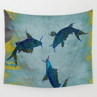 koi Wall Tapestries featuring Koi  by Saundra Myles