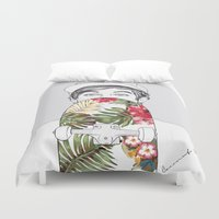 coconutwishes Duvet Covers featuring L Skate by Coconut Wishes