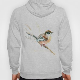 Bird Songbird, Carolina Wren brown, Sahara Shades, soft neutral colored nursery design Hoody