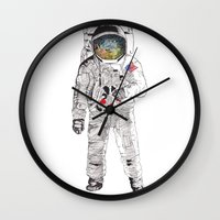 astronaut Wall Clocks featuring Astronaut by James White