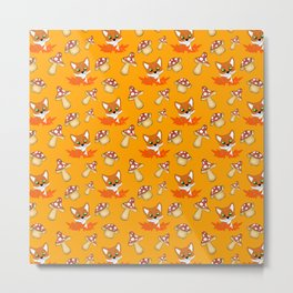 Cute pretty little foxes, red leaves, wild mushrooms bright orange nursery pattern design Metal Print