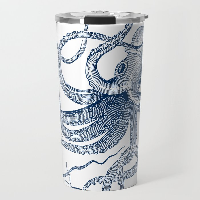 Blue nautical vintage octopus illustration Travel Mug