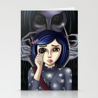 coraline Stationery Cards featuring Coraline and the secret door by Artik