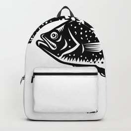 Crappie Fish Woodcut Backpack