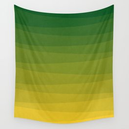 Shades of Grass - Line Gradient Pattern between Lime Green and Bright Yellow Wall Tapestry