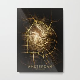 Amsterdam city night light map Metal Print