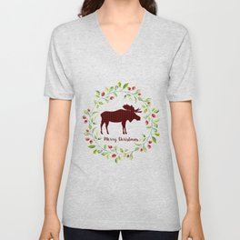 Winter Wreath Merry Christmas Red Buffalo Plaid Reindeer Unisex V-Neck