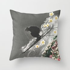Spring Skiing Throw Pillow