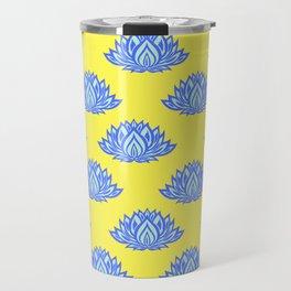 Lotus Pattern Yellow Travel Mug