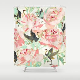Floral Cranes Shower Curtain