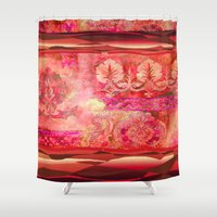 50s Shower Curtains featuring boho ethnic by Ariadne