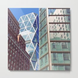 New York City Glass Tower Patchwork Windows Metal Print