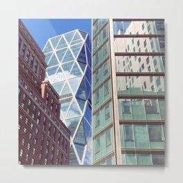 New York City Glass Tower Patchwork Windows Metal Print