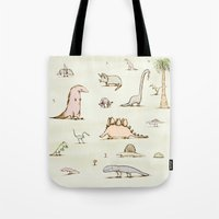 dinosaurs Tote Bags featuring Dinosaurs by Sophie Corrigan