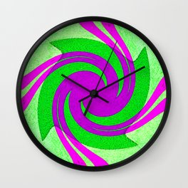 Colorful purple and green spiral swirling elliptical constellation star galaxy abstract design Wall Clock