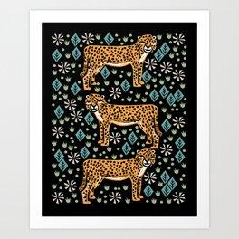 Cheetah safari art printmaking screen print giclee by andrea lauren Art Print