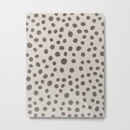6-303-7, Mocha brown & Cream big polka dots, Abstract fabric design, Boho decor, Metal Print