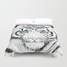 White Bengal tiger Blue Eyes Ink Art Duvet Cover
