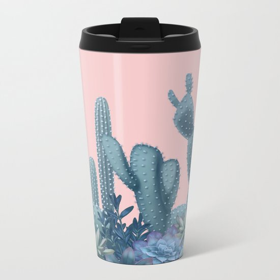 Milagritos Cacti on Rose Quartz Background Metal Travel Mug