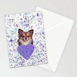 Watercolor Ultra Violet Splattering Dog Lovers Stationery Cards