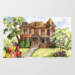 Victorian Mansion in the Spring Rug
