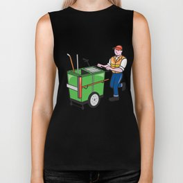Streeet Cleaner Pushing Trolley Cartoon Isolated Biker Tank