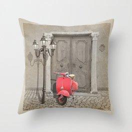 Nostalgia pink scooter Throw Pillow