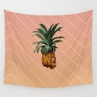 pineapple Wall Tapestries featuring PINEAPPLE by DIVIDUS