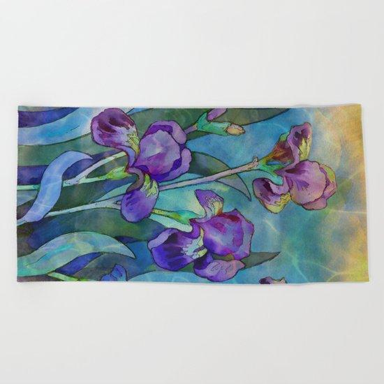 Fantasy Irises Beach Towel