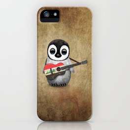Baby Penguin Playing Iraqi Flag Acoustic Guitar iPhone Case