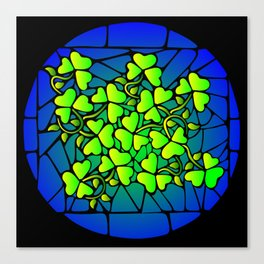 Stained Glass Shamrocks Canvas Print