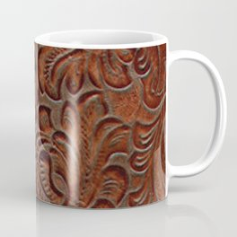 Burnished Rich Brown Tooled Leather Coffee Mug
